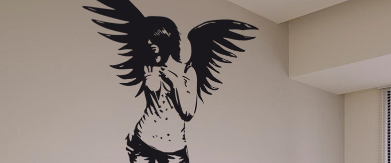 gothic angel wall art decal