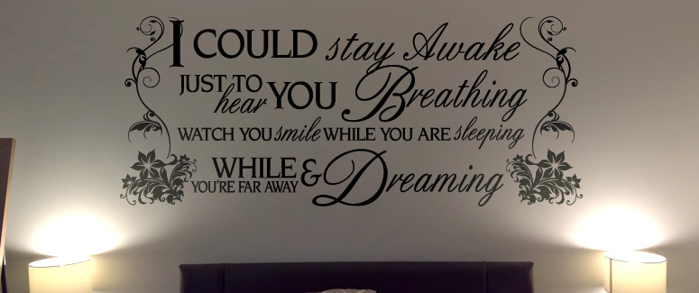 loving bedroom wall art decal