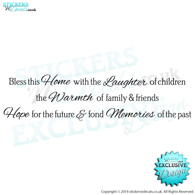 Bless This Home With Laughter, Warmth, Hope & Memories - Vinyl Wall Art - Vinyl Wall Decal - Window Graphic - Wall Decor