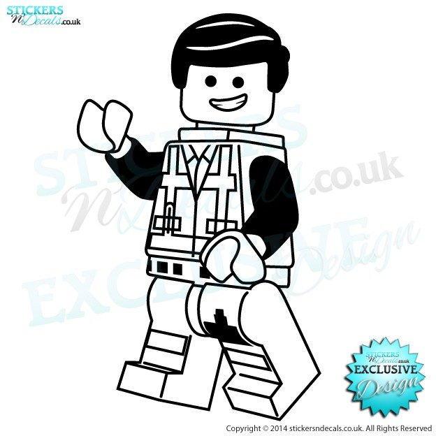 The Lego Movie Emmett - Character Wall Art - Childrens Wall Decor - Vinyl Wall Sticker - Vinyl Wall Decal