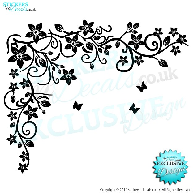 Swirly Butterfly Starburst Flower - Vinyl Wall Art - Vinyl Wall Decal - Wall Decor - Window Sticker