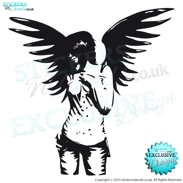 Beautiful Gothic Angel - Vinyl Wall Art - Vinyl Wall Decal - Window Graphic - Wall Decor