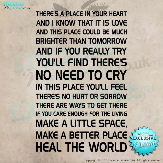 Michael Jackson - Heal The World - Song Lyrics - Vinyl Wall Art - Wall Decal - Vinyl Sticker  - Wall Decor