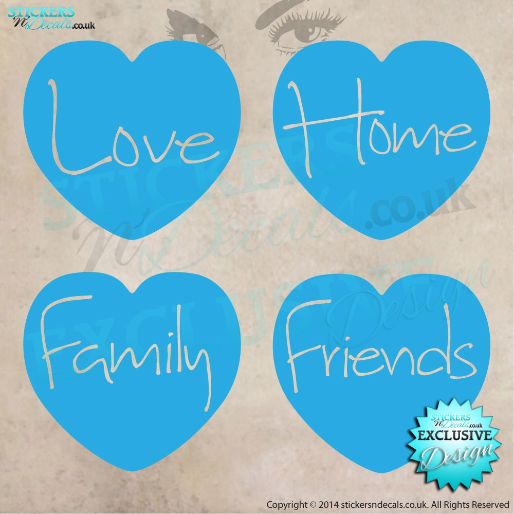 My 4 Hearts - Love, Home, Family, Friends - Vinyl Wall Art - Vinyl Wall Decal - Wall Decor - Home Decor