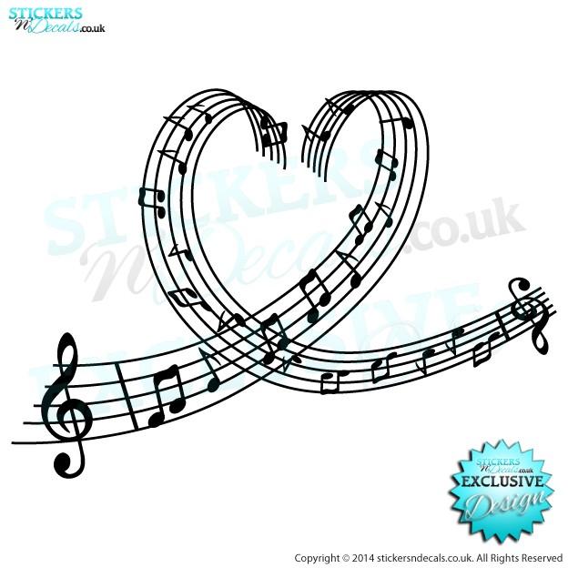 Love Music - Musical Heart - Vinyl Wall Art - Vinyl Wall Decal - Wall Decor - Window Graphic