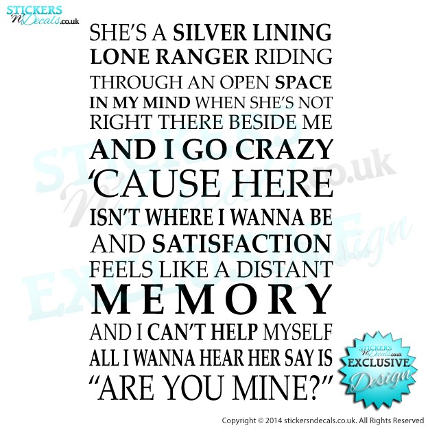 Arctic Monkeys - R U Mine - Song Lyrics - Vinyl Wall Art - Vinyl Wall Decal - Wall Decor
