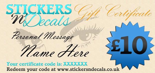 Stickersndecals £10 Gift Certificate