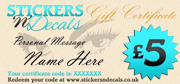 Stickersndecals £5 Gift Certificate