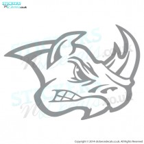 Angry Rhino Head - Bumper Sticker - Car Decal - Window Graphic - Vinyl Wall Decor