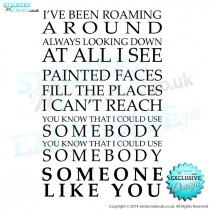 Kings Of Leon - Someone Like You - Song Lyrics - Vinyl Wall Art - Vinyl Wall Decal - Wall Decor - Home Decor